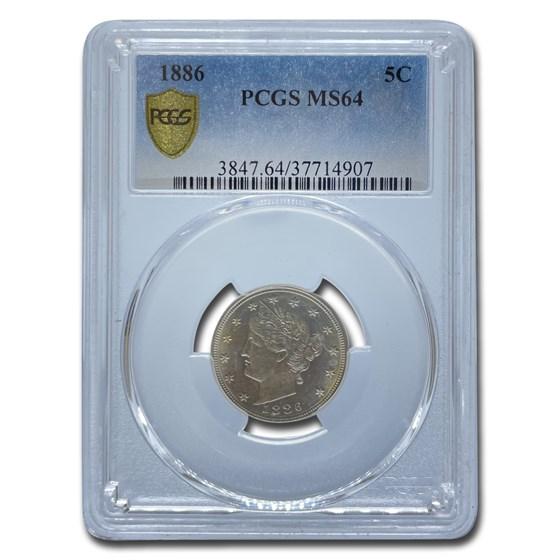 1886 Liberty Head V Nickel MS-64 PCGS