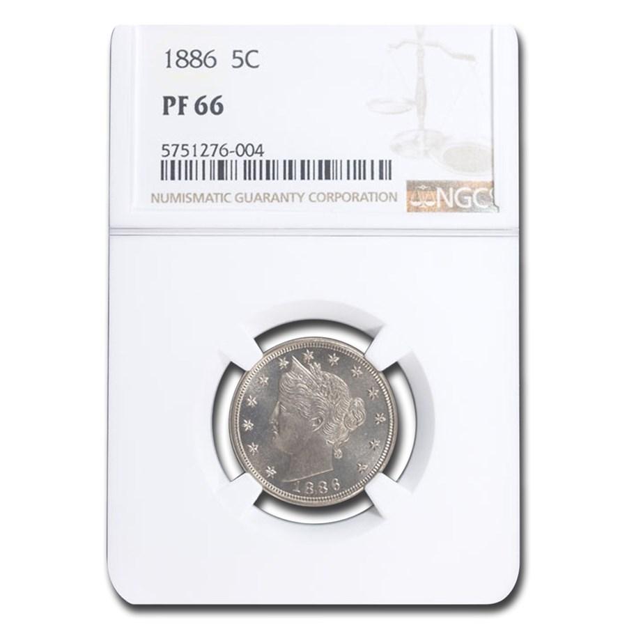 1886 Liberty Head V Nickel PF-66 NGC