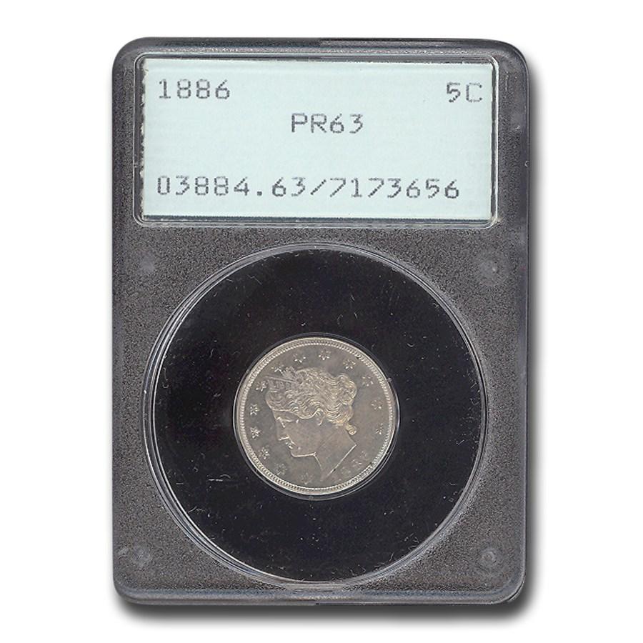 1886 Liberty Head V Nickel PR-63 PCGS