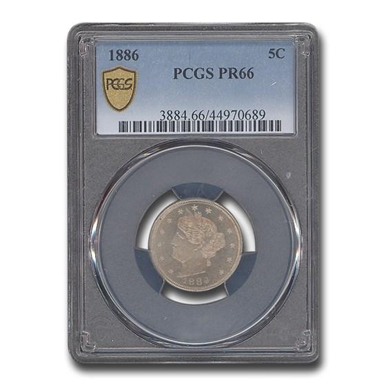 1886 Liberty Head V Nickel PR-66 PCGS