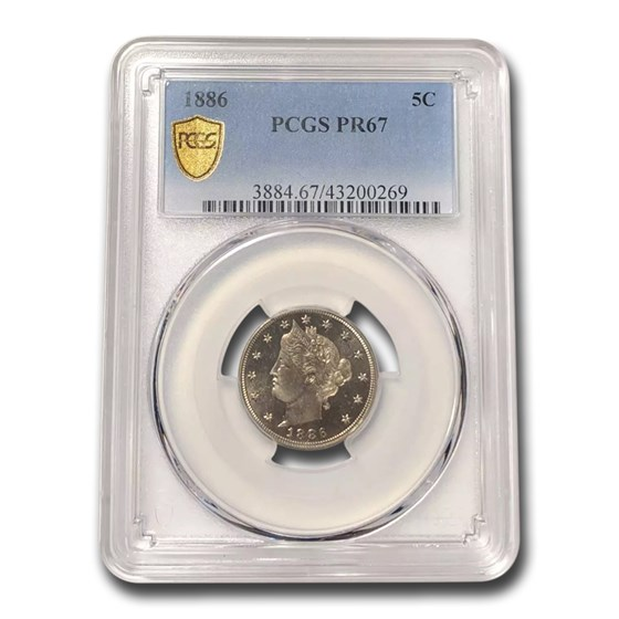 1886 Liberty Head V Nickel PR-67 PCGS