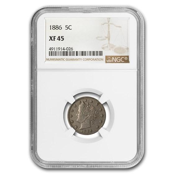 1886 Liberty Head V Nickel XF-45 NGC