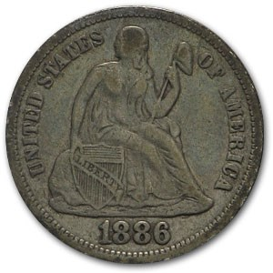 1886 Liberty Seated Dime VF