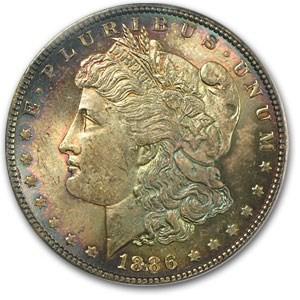 1886 Morgan Dollar MS-63 PCGS (Blue & Pink Toning)