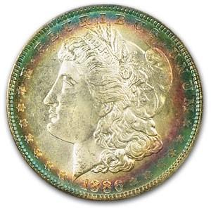 1886 Morgan Dollar MS-63 PCGS (Flashy Blue & Pink Toning)