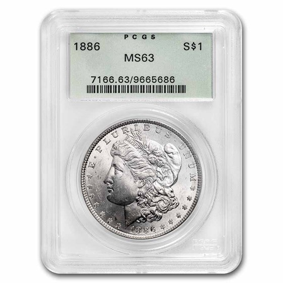 1886 Morgan Dollar MS-63 PCGS (Old Green Label)