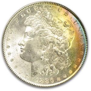 1886 Morgan Dollar MS-63 PCGS (Pastel Rainbow Toning)
