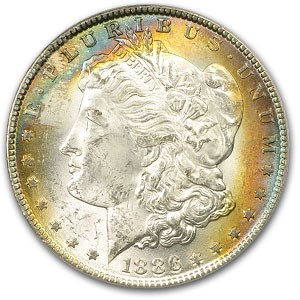 1886 Morgan Dollar MS-63 PCGS (Toned Obv, Old Green Holder)