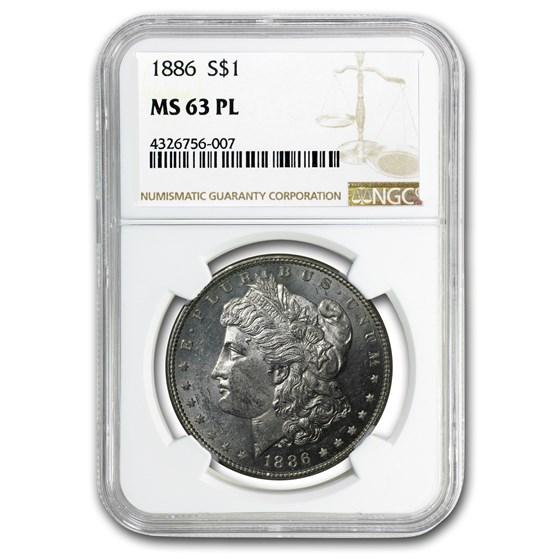 1886 Morgan Dollar MS-63 PL Proof Like NGC