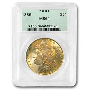 1886 Morgan Dollar MS-64 PCGS (Rainbow Rev Toning)