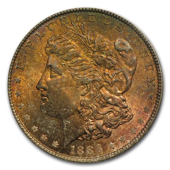 1886 Morgan Dollar MS-64 PCGS (Red/Orange Obv Toning)