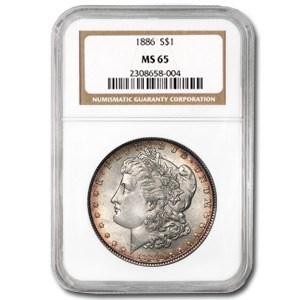 1886 Morgan Dollar MS-65 NGC Nice (Rim Toning)