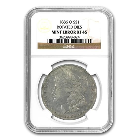 1886-O Morgan Dollar XF-45 NGC (45 Degree CW Rotated Rev)