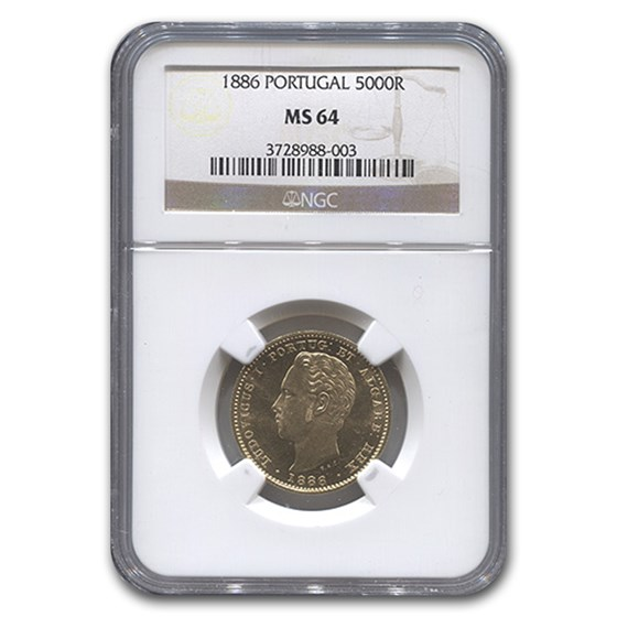 1886 Portugal Gold 5,000 Reis MS-64 NGC