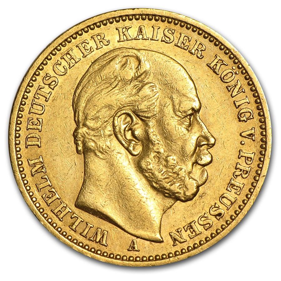 1886 Prussia Gold 20 Marks Wilhelm I XF