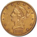 1886-S $10 Liberty Gold Eagle AU