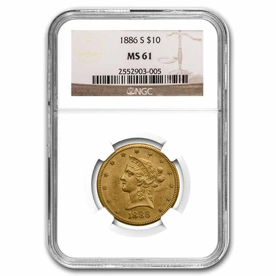 1886-S $10 Liberty Gold Eagle MS-61 NGC