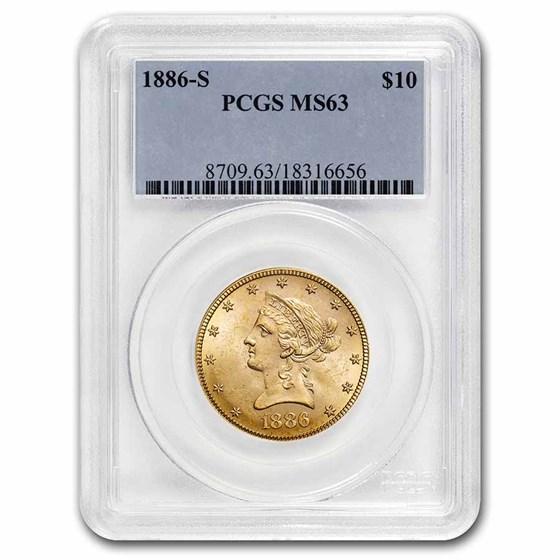 1886-S $10 Liberty Gold Eagle MS-63 PCGS