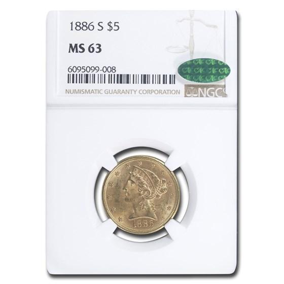 1886-S $5.00 Liberty Gold Half Eagle MS-63 NGC CAC