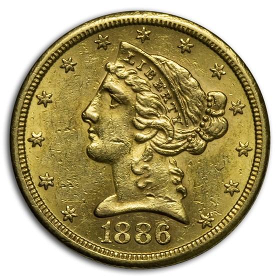 1886-S $5 Liberty Gold Half Eagle AU