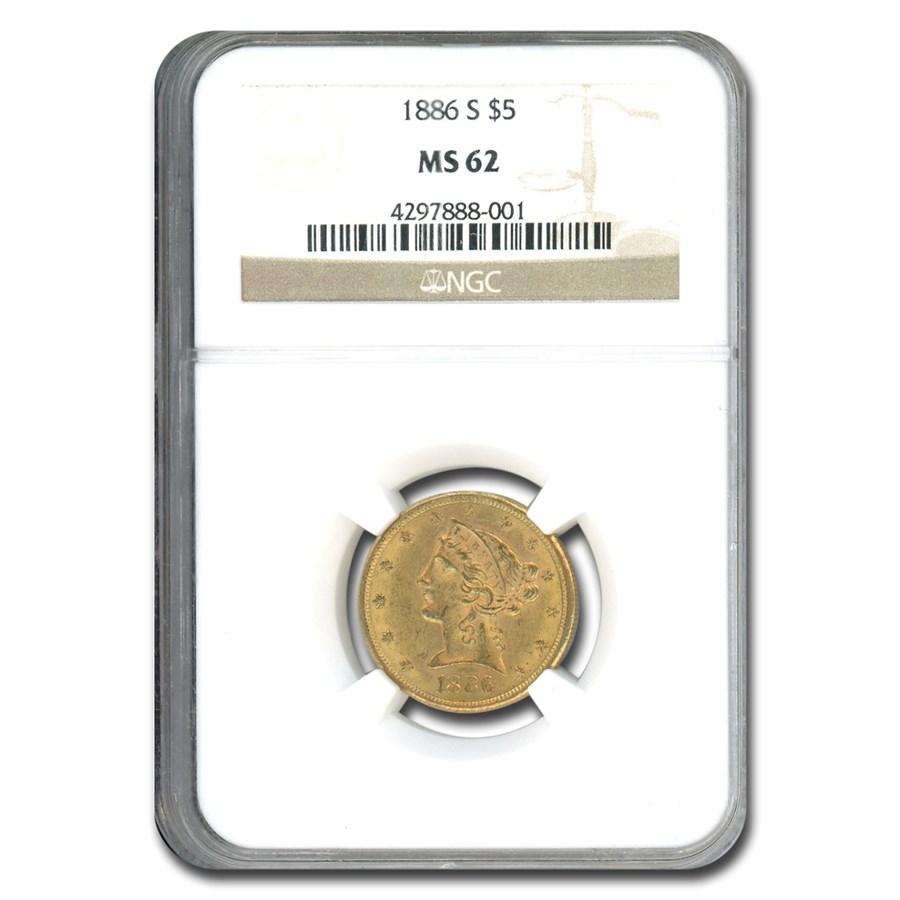 1886-S $5 Liberty Gold Half Eagle MS-62 NGC