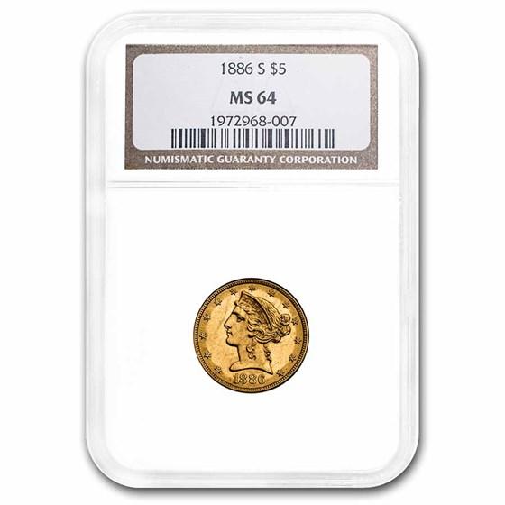 1886-S $5 Liberty Gold Half Eagle MS-64 NGC