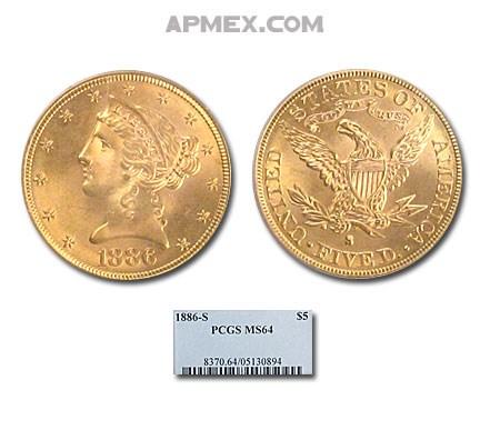 1886-S $5 Liberty Gold Half Eagle MS-64 PCGS