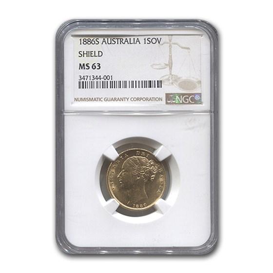 1886-S Australia Gold Sovereign Victoria Shield MS-63 NGC