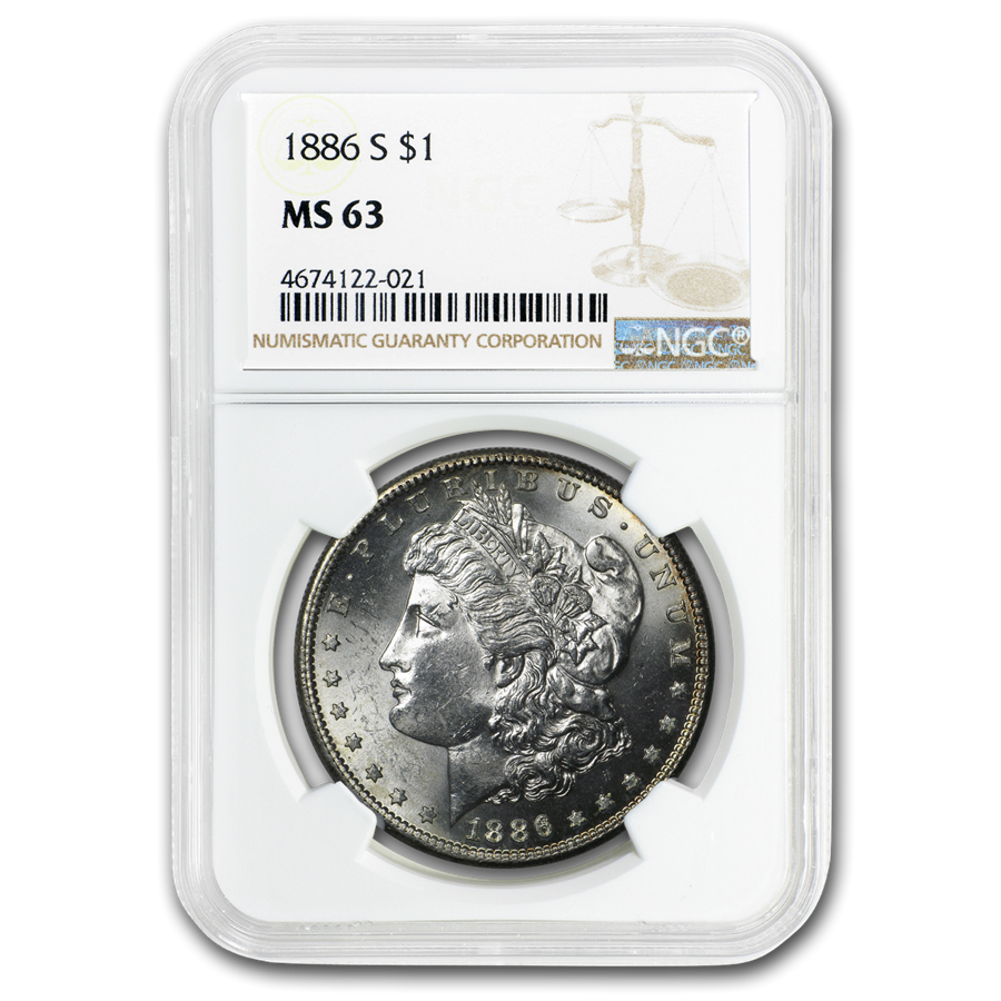 1886-S Morgan Dollar MS-63 NGC
