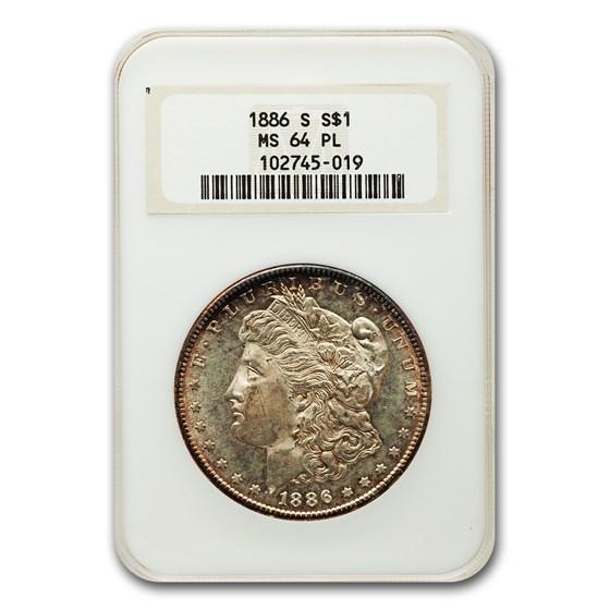 1886-S Morgan Dollar MS-64 PL NGC
