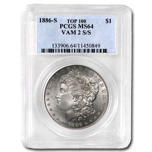 1886-S/S MS-64 PCGS (VAM-2, S/S Repunched Mintmark, Top-100)