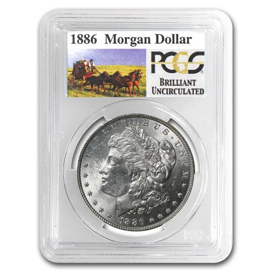 1886 Stage Coach Morgan Dollar BU PCGS