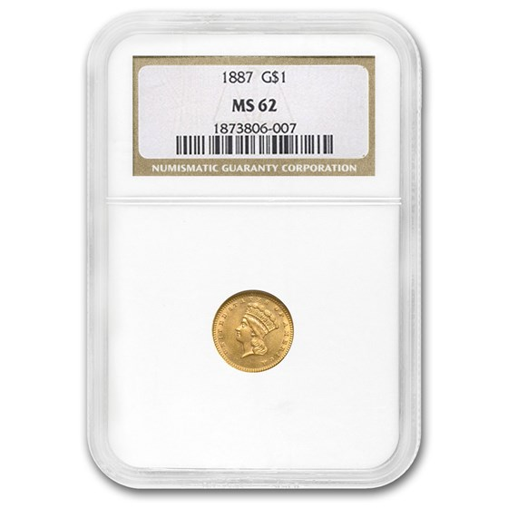 1887 $1 Indian Head Gold MS-62 NGC