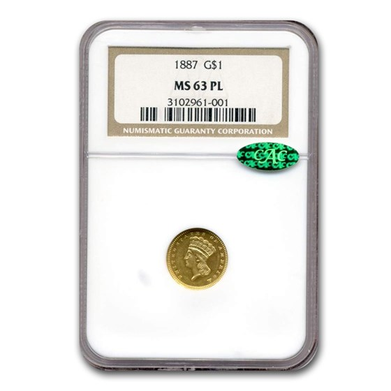 1887 $1 Indian Head Gold MS-63 NGC CAC (PL)
