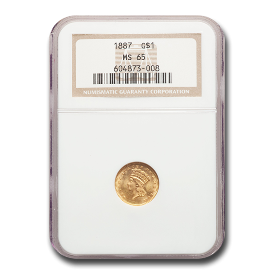 1887 $1 Indian Head Gold MS-65 NGC