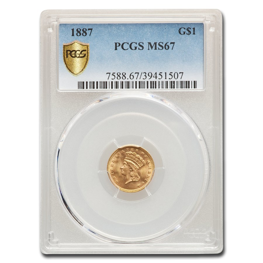 1887 $1 Indian Head Gold MS-67 PCGS