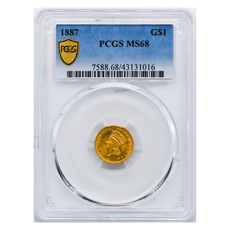 1887 $1 Indian Head Gold MS-68 PCGS