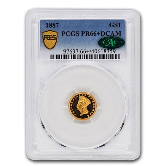 1887 $1 Indian Head Gold PR-66+ DCAM PCGS CAC