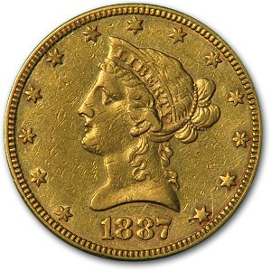 1887 $10 Liberty Gold Eagle (Cleaned)