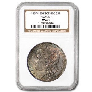 1887/1887 MS-63 NGC (VAM-5, Doubled Date, Green Toned, Top-100)