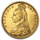 1887-1893 Great Britain Gold 1/2 Sov Victoria Jubilee Avg Circ