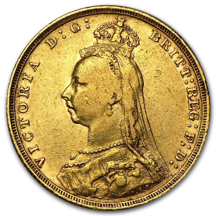 1887-1893-S Australia Gold Sovereign Victoria Jubilee Avg Circ