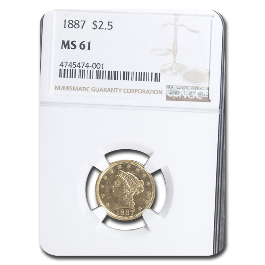 1887 $2.50 Liberty Gold Quarter Eagle MS-61 NGC