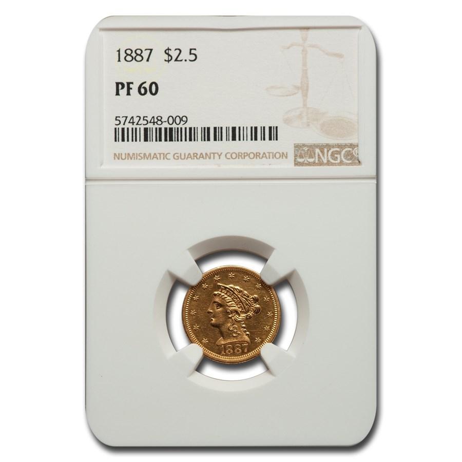 1887 $2.50 Liberty Gold Quarter Eagle PF-60 NGC