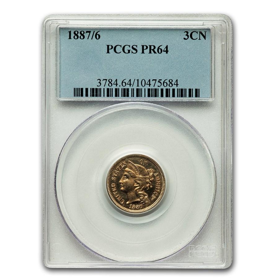1887/6 Three Cent Nickel PR-64 PCGS