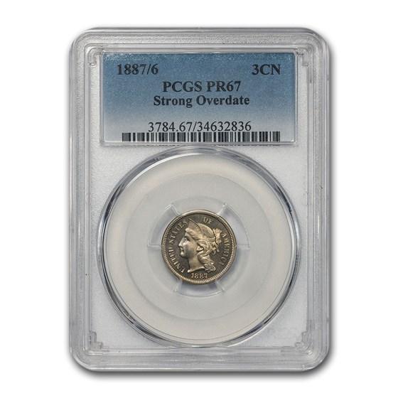 1887/6 Three Cent Nickel PR-67 PCGS (Strong Overdate)