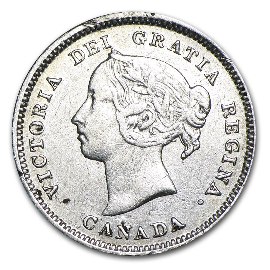 1887 Canada 5 Cents Silver F Details (Dark)