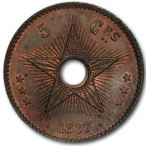 1887 Congo Free State 5 Centimes Copper BU (Brown/Red)