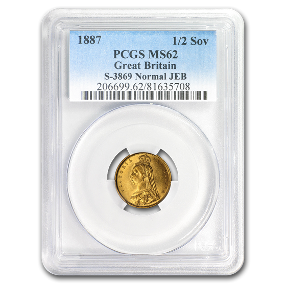 1887 Great Britain Gold 1/2 Sovereign Victoria Jubilee MS-62 PCGS
