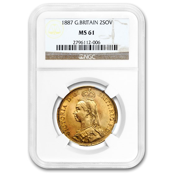 1887 Great Britain Gold 2 Pounds Victoria MS-61 NGC